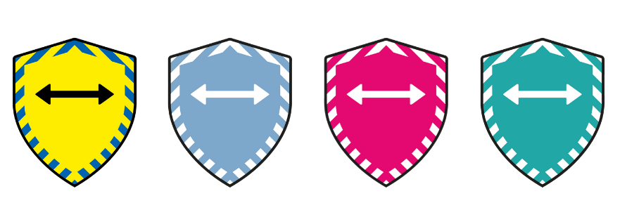 Picture showing the shield design of the socially distanced symbol in various colours - yellow, blue, red and green.